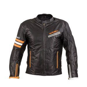 Kožená moto bunda W-TEC Brenerro Black-Orange-White - 4XL vyobraziť