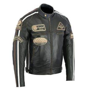 Kožená moto bunda BOS 2058 Antique black čierna - 6XL vyobraziť