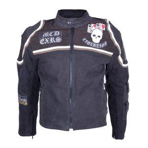 Kožená moto bunda Sodager Micky Rourke čierna s grafikou - 6XL vyobraziť