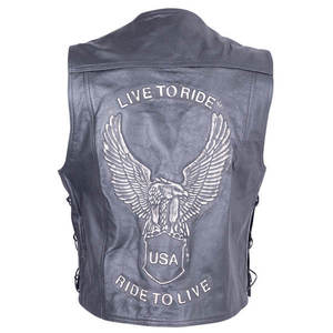 Kožená moto vesta Sodager Live To Ride Vest čierna - 6XL vyobraziť