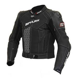 Pánska kožená moto bunda Spark ProComp čierno-bielo-fluo - 4XL vyobraziť