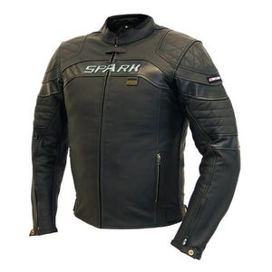 Pánska kožená moto bunda SPARK Dark čierna - 7XL vyobraziť