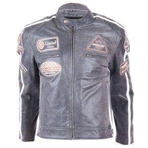Kožená moto bunda BOS 2058 Vintage grey šedá - S vyobraziť