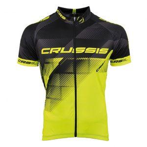 Cyklistický dres Crussis čierna-fluo žltá - 3XL vyobraziť