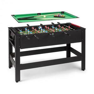 KLARFIT Spin 2 v 1, hrací stôl, biliard, kalčeto, 180° otočný, hracie príslušenstvo, čierny vyobraziť