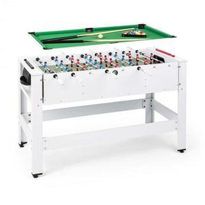 KLARFIT Spin 2 v 1, hrací stôl, biliard, kalčeto, 180° otočný, hracie príslušenstvo, biely vyobraziť