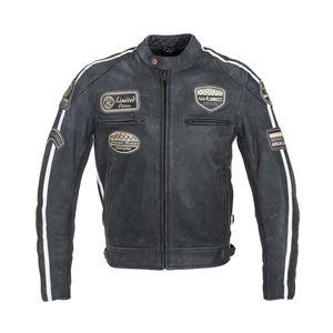 Pánska kožená moto bunda W-TEC Dark Grey Vintage tmavo šedá - 6XL vyobraziť