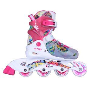 Detské nastaviteľné korčule Action Doly so svietiacimi kolieskami ružová - S 30-33 vyobraziť